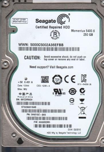 ST9250315AS, 5VC, WU, PN 9HH132-502, FW 0003SDM1, Seagate 250GB SATA 2.5 Hard Drive