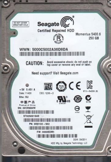 ST9250315AS, 6VC, SU, PN 9HH132-502, FW 0003SDM1, Seagate 250GB SATA 2.5 Hard Drive