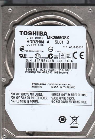 MK2565GSX, A0/GJ003A, HDD2H84 A SL01 B, Toshiba 250GB SATA 2.5 Hard Drive