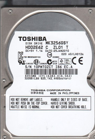 MK3256GSY, A0/LH013A, HDD2E62 C ZL01 T, Toshiba 320GB SATA 2.5 Hard Drive