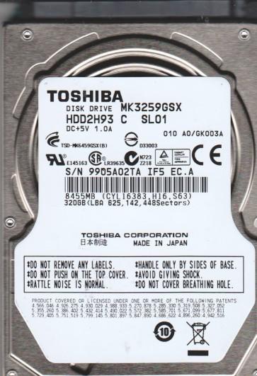 MK3259GSX, A0/GK003A, HDD2H93 C SL01, Toshiba 320GB SATA 2.5 Hard Drive