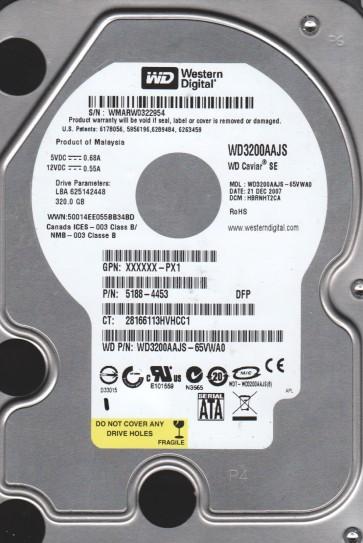 WD3200AAJS-65VWA0, DCM HBRNHT2CA, Western Digital 320GB SATA 3.5 Hard Drive