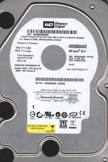 WD5000AAKS-00YGA0, DCM HHRNHT2CBB, Western Digital 500GB SATA 3.5 Hard Drive