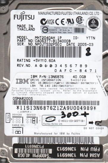 MHT2040AH 1P, PN CA06377-B134000B, Fujitsu 40GB IDE 2.5 BSectr HDD