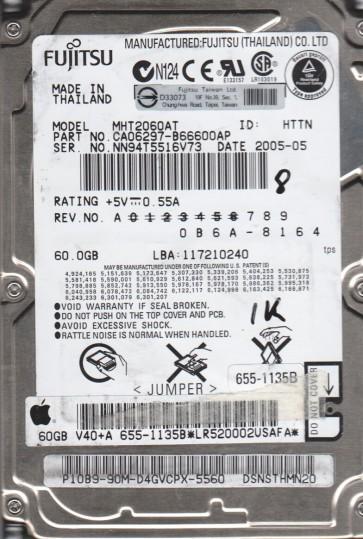 MHT2060AT, PN CA06297-B66600AP, Fujitsu 60GB IDE 2.5 BSectr HDD