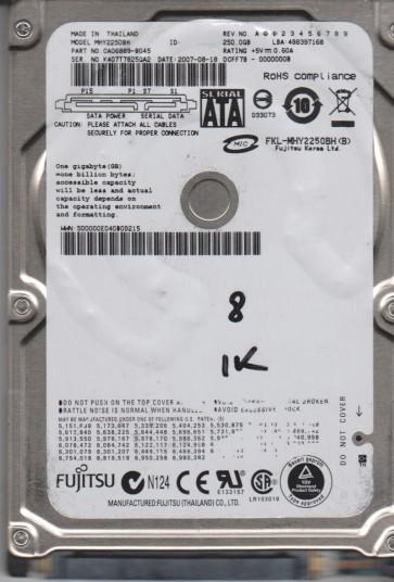 MHY2250BH, PN CA06889-B045, Fujitsu 250GB SATA 2.5 BSectr HDD