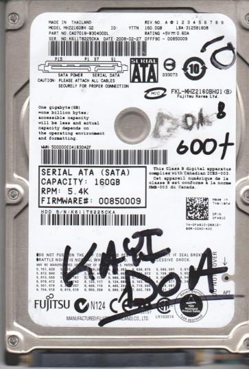 MHZ2160BH G2, PN CA07018-B30400DL, Fujitsu 160GB SATA 2.5 BSectr HDD