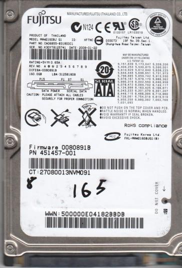 MHW2160BJ G1, PN CA06855-B31800C1, Fujitsu 160GB SATA 2.5 BSectr HDD