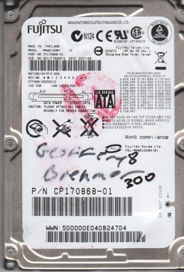 MHW2100BH, PN CP170868-01, Fujitsu 100GB SATA 2.5 BSectr HDD