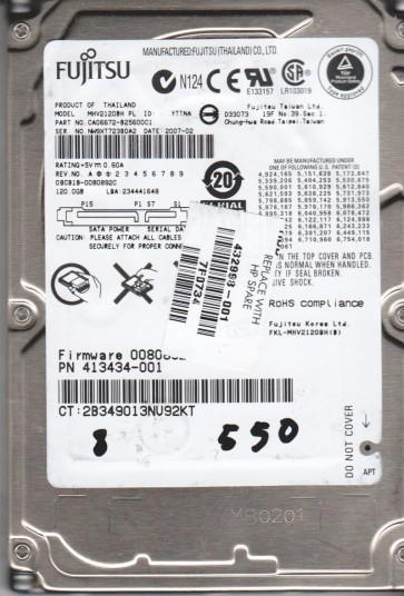 MHV2120BH PL, PN CA06672-B25600C1, Fujitsu 120GB SATA 2.5 BSectr HDD