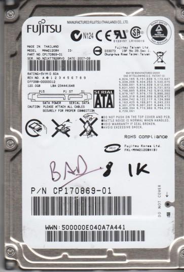 MHW2120BH, PN CP170869-01, Fujitsu 120GB SATA 2.5 BSectr HDD