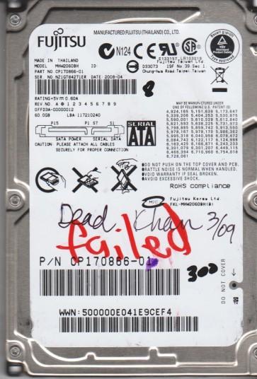 MHW2060BH, PN CP170866-01, Fujitsu 60GB SATA 2.5 BSectr HDD