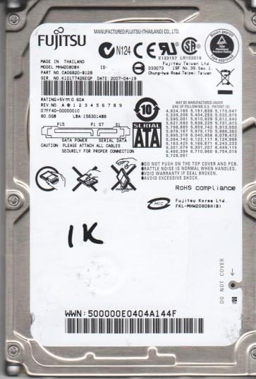MHW2080BH, PN CA06820-B128, Fujitsu 80GB SATA 2.5 BSectr HDD