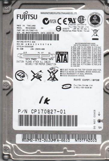 MHV2080BH, PN CP170827-01, Fujitsu 80GB SATA 2.5 BSectr HDD