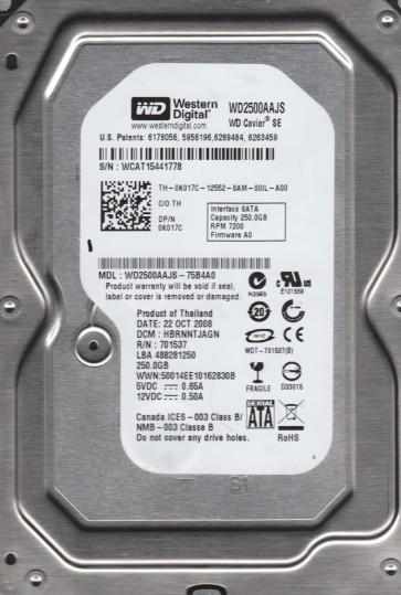 WD2500AAJS-75B4A0, DCM HBRNNTJAGN, Western Digital 250GB SATA 3.5 Hard Drive