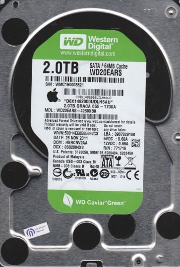 WD20EARS-42S0XB0, DCM HBRCNV2AA, Western Digital 2TB SATA 3.5 Hard Drive
