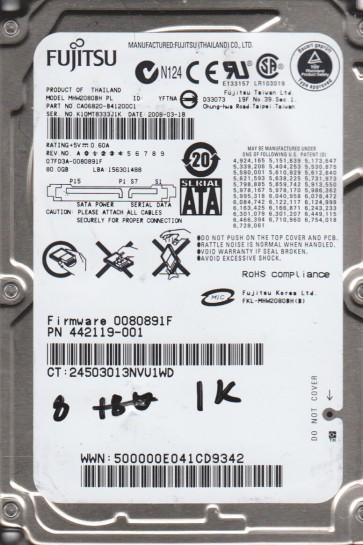 MHW2080BH PL, PN CA06820-B41200C1, Fujitsu 80GB SATA 2.5 BSectr HDD