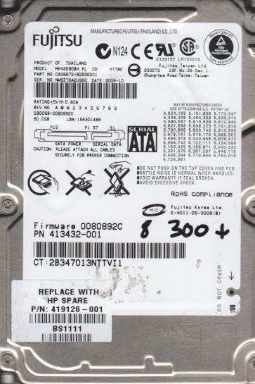 MHV2080BH PL, PN CA06672-B25300C1, Fujitsu 80GB SATA 2.5 BSectr HDD