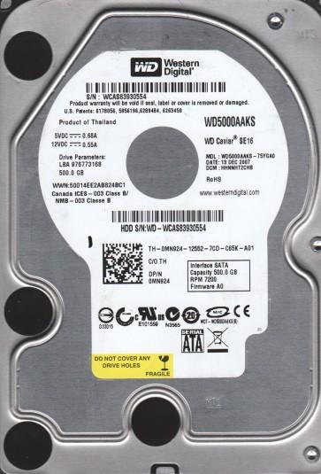 WD5000AAKS-75YGA0, DCM HHNNHT2CHB, Western Digital 500GB SATA 3.5 Hard Drive