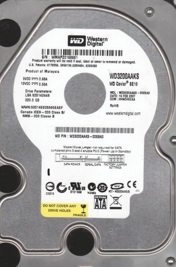 WD3200AAKS-00SBA0, DCM HHNCHV2AA, Western Digital 320GB SATA 3.5 Hard Drive