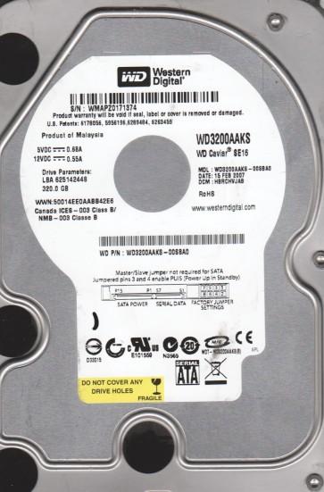 WD3200AAKS-00SBA0, DCM HBRCHVJAB, Western Digital 320GB SATA 3.5 Hard Drive