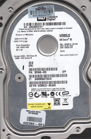 WD800JD-60LSA5, DCM DSBACTJCH, Western Digital 80GB SATA 3.5 Hard Drive