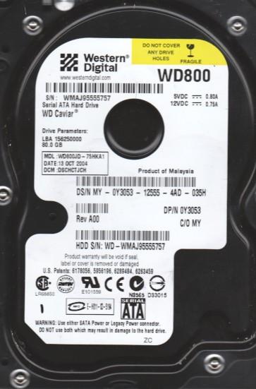WD800JD-75HKA1, DCM DSCHCTJCH, Western Digital 80GB SATA 3.5 Hard Drive