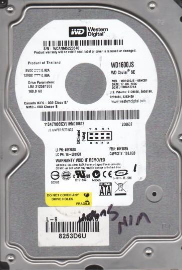 WD1600JS-08NCB1, DCM HSBANT2AA, Western Digital 160GB SATA 3.5 Hard Drive