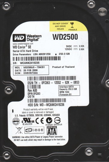 WD2500JS-75NCB1, DCM DSBHNT2AA, Western Digital 250GB SATA 3.5 Hard Drive