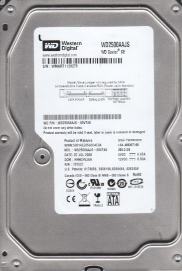 WD2500AAJS-00VTA0, DCM HHNCHVJAH, Western Digital 250GB SATA 3.5 Hard Drive