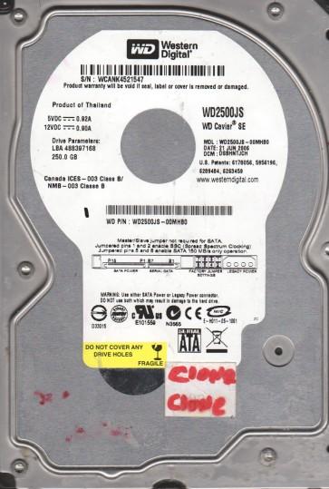 WD2500JS-00MHB0, DCM DSBHNTJCH, Western Digital 250GB SATA 3.5 Hard Drive