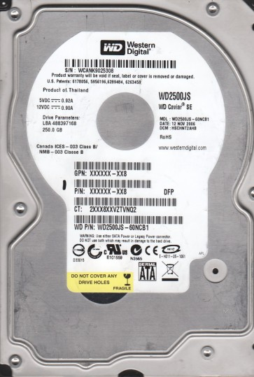 WD2500JS-60NCB1, DCM HSBHNT2AH, Western Digital 250GB SATA 3.5 Hard Drive