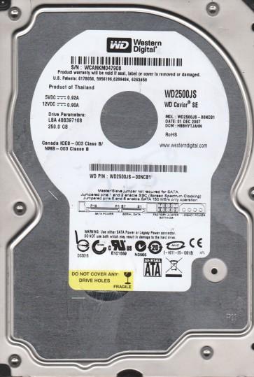 WD2500JS-00NCB1, DCM HBBHYTJAHN, Western Digital 250GB SATA 3.5 Hard Drive
