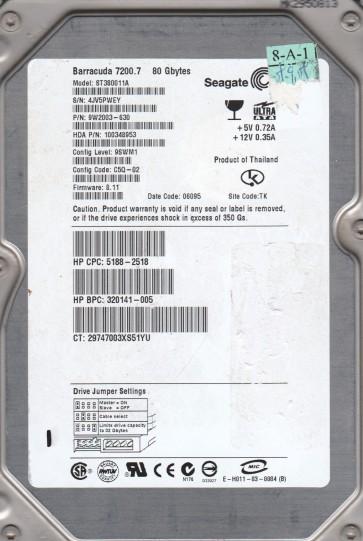 ST380011A, 4JV, PN 9W2003-630, FW 8.11, Seagate 80GB IDE 3.5 Hard Drive