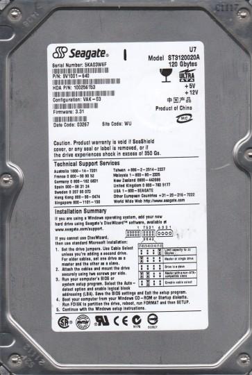 ST3120020A, 5KA, WU, PN 9v1001-640, FW 3.31, Seagate 120GB IDE 3.5 Hard Drive