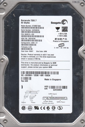 ST380013AS, 3JV, AMK, PN 9W2812-033, FW 8.05, Seagate 80GB SATA 3.5 Hard Drive