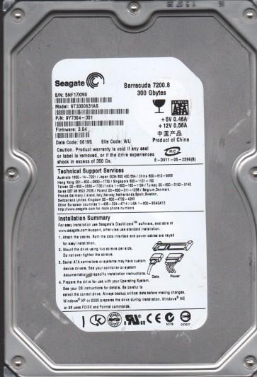 ST3300631AS, 5NF, WU, PN 9Y7364-301, FW 3.04, Seagate 300GB SATA 3.5 Hard Drive