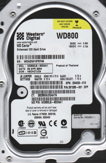 WD800LB-60DNA1, DCM HSCHCTJCA, Western Digital 40GB IDE 3.5 Hard Drive