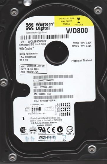 WD800BB-22FJA1, DCM DSCHCTJCH, Western Digital 80GB IDE 3.5 Hard Drive