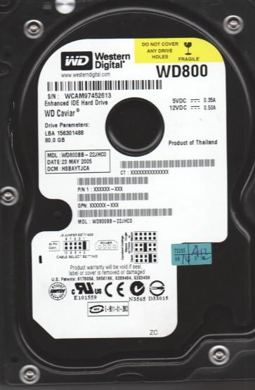 WD800BB-22JHC0, DCM HSBAYTJCA, Western Digital 80GB IDE 3.5 Hard Drive