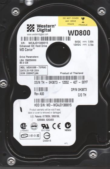 WD800BB-75FRA0, DCM DSBHCTJAA, Western Digital 80GB IDE 3.5 Hard Drive