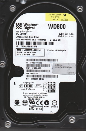 WD800BB-22HEA1, DCM HSBACTJAA, Western Digital 80GB IDE 3.5 Hard Drive