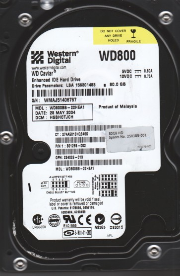 WD800BB-22HEA1, DCM HSBHCTJCH, Western Digital 80GB IDE 3.5 Hard Drive