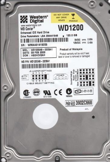 WD1200AB-22CBA1, DCM HSEHCV2AH, Western Digital 120GB IDE 3.5 Hard Drive