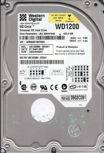 WD1200BB-00CAA1, DCM DSEHNV2AH, Western Digital 120GB IDE 3.5 Hard Drive