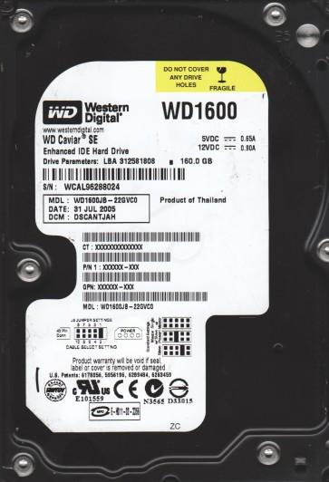 WD1600JB-22GVC0, DCM DSCANTJAH, Western Digital 160GB IDE 3.5 Hard Drive