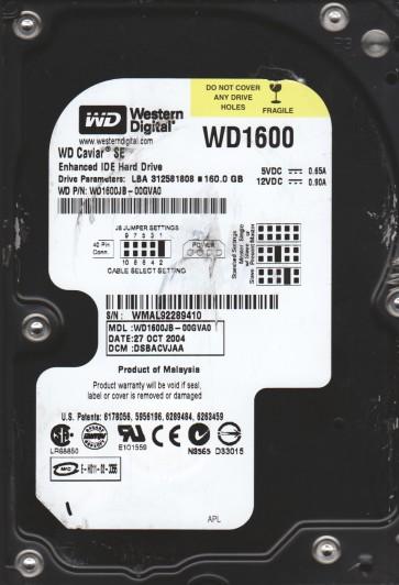 WD1600JB-00GVA0, DCM DSBACVJAA, Western Digital 160GB IDE 3.5 Hard Drive