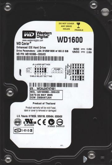 WD1600BB-00GUC0, DCM DSBANTJAH, Western Digital 160GB IDE 3.5 Hard Drive