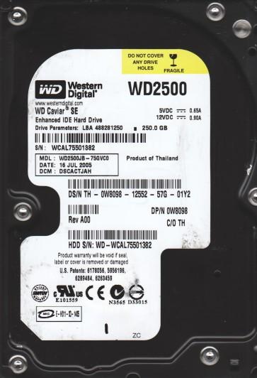 WD2500JB-75GVC0, DCM DSCACTJAH, Western Digital 250GB IDE 3.5 Hard Drive