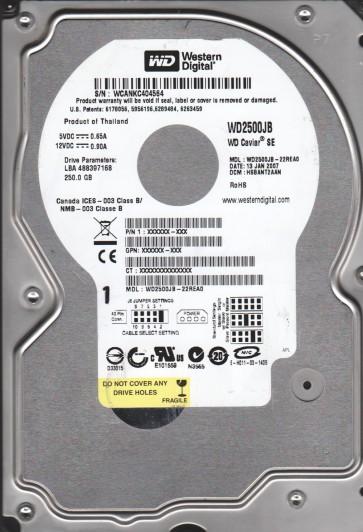 WD2500JB-22REA0, DCM HSBANT2AAN, Western Digital 250GB IDE 3.5 Hard Drive